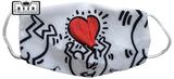 Mondkapje Kind zwart/wit met rood hart_