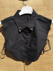 Kraag zwart met zwarte en bling steentjes punt kraag katoen