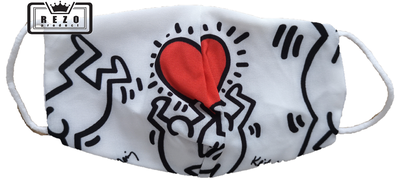 Mondkapje Kind zwart/wit met rood hart
