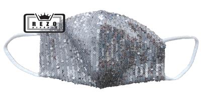Mondkapje Glitter zilver/grijs