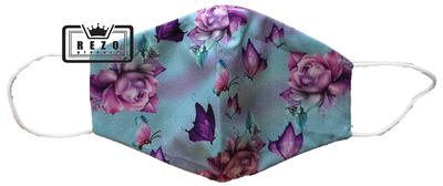 Mondkapje aqua bloem/vlinder