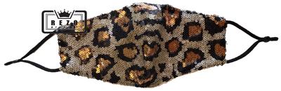 Mondkapje Glitter panter koper/goud