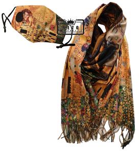 """10) Klimt """"de Kus"""" winterset fijn (Sjaal viscose)"""