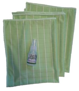 GG ) Bamboe Glas doeken per 3 stuks (groen) + kleine bamboe concentraat