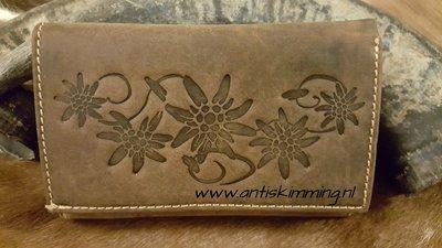 dames portemonnee met bloem opdruk